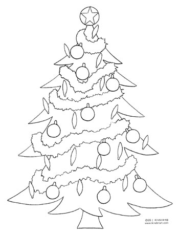 christmas tree coloring page kinderartcom