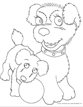 Dog and puppy coloring page. KinderArt.com