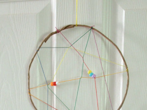 Make a rainbow dreamcatcher.