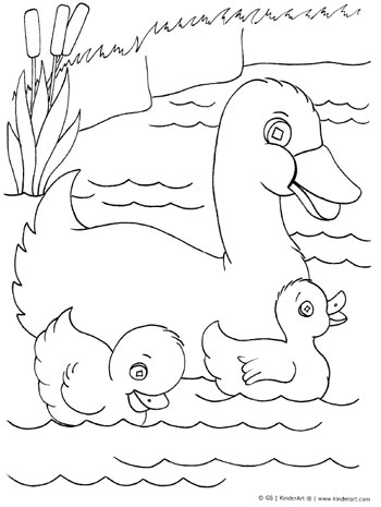 Duck with ducklings coloring page kinderart for Five little ducks coloring page