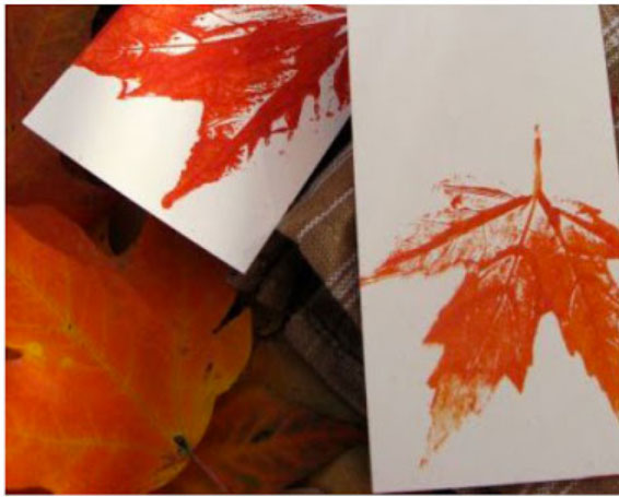 Leaf prints. KinderArt.com.