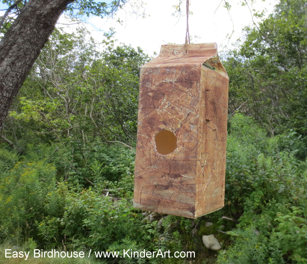 Milk carton birdhouse craft