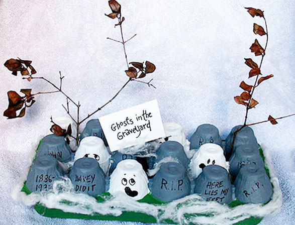 Egg Carton Ghosts in the Graveyard Craft for Kids from KinderArt.com