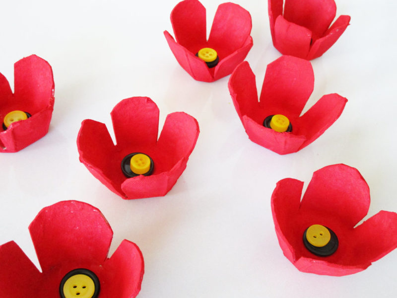How To Make Poppies From Recycled Egg Cartons Kinderart Com