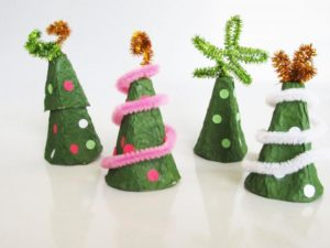 Make Christmas trees out of egg cartons. KinderArt.com
