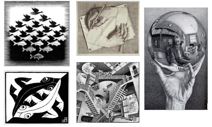 Examples of MC Escher's Op Art.
