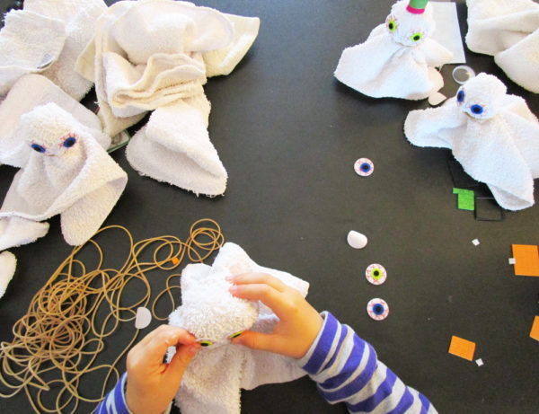 Making facecloth ghosts.