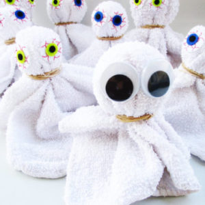 Facecloth ghosts craft from KinderArt.com