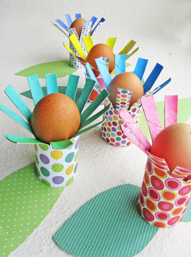 Make Flower Egg Holders From Paper Rolls Kinderart