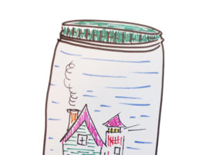 Draw a jar with unexpected items inside.