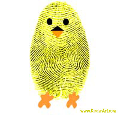Fingerprint chick craft for kids.