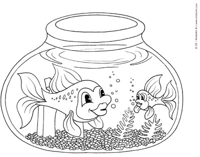 Fishbowl Coloring Page KinderArt