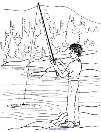 Fishing coloring page. KinderArt.com