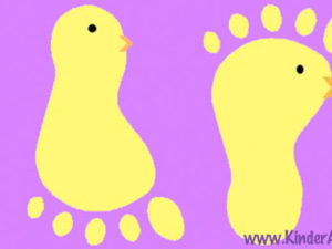Footprint chick craft for little kids. KinderArt.com