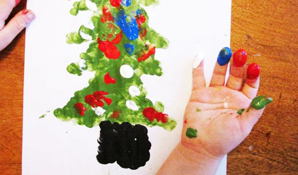 Finger painting Christmas crafts for kids from KinderArt.com.