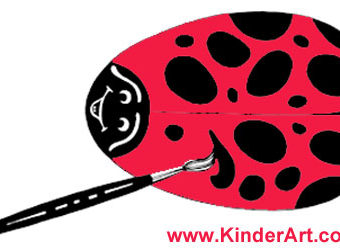 Painted ladybug garden rock craft for kids. KinderArt.com