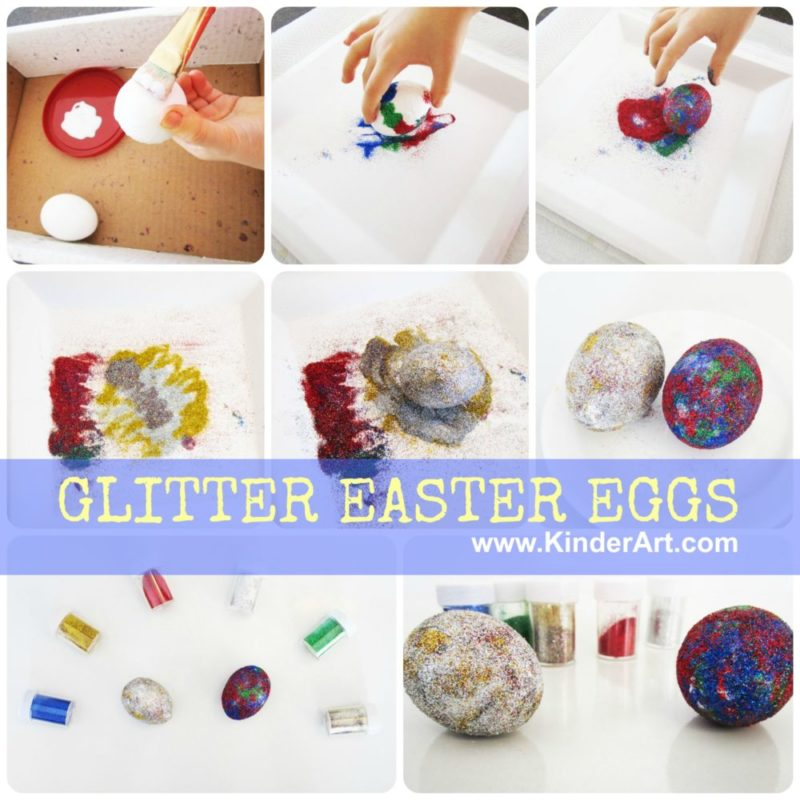 Glitter eggs craft for Easter or anytime! KinderArt.com