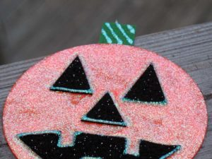 Glitter Pumpkin CD Craft. KinderArt.com