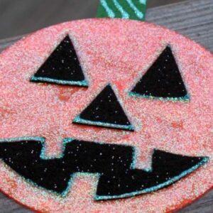 Glitter Pumpkin CD Craft. KinderArt.com