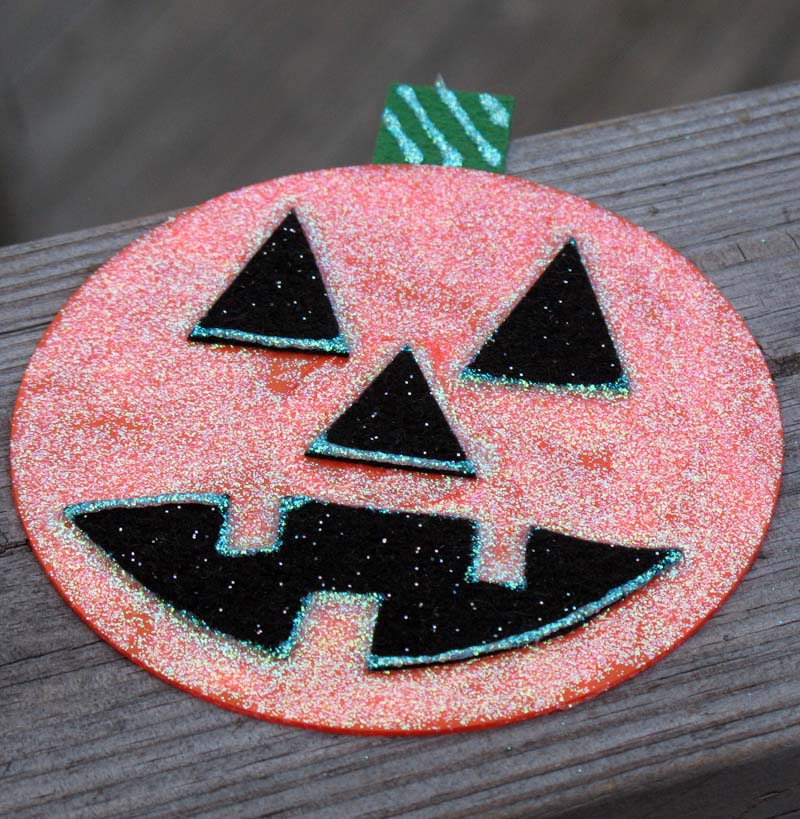 glitter pumpkin cd craft
