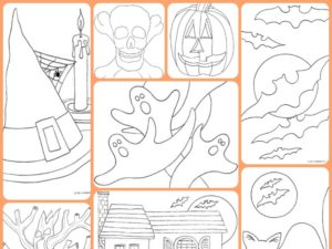 Free Halloween Coloring pages for Kids. KinderArt.com