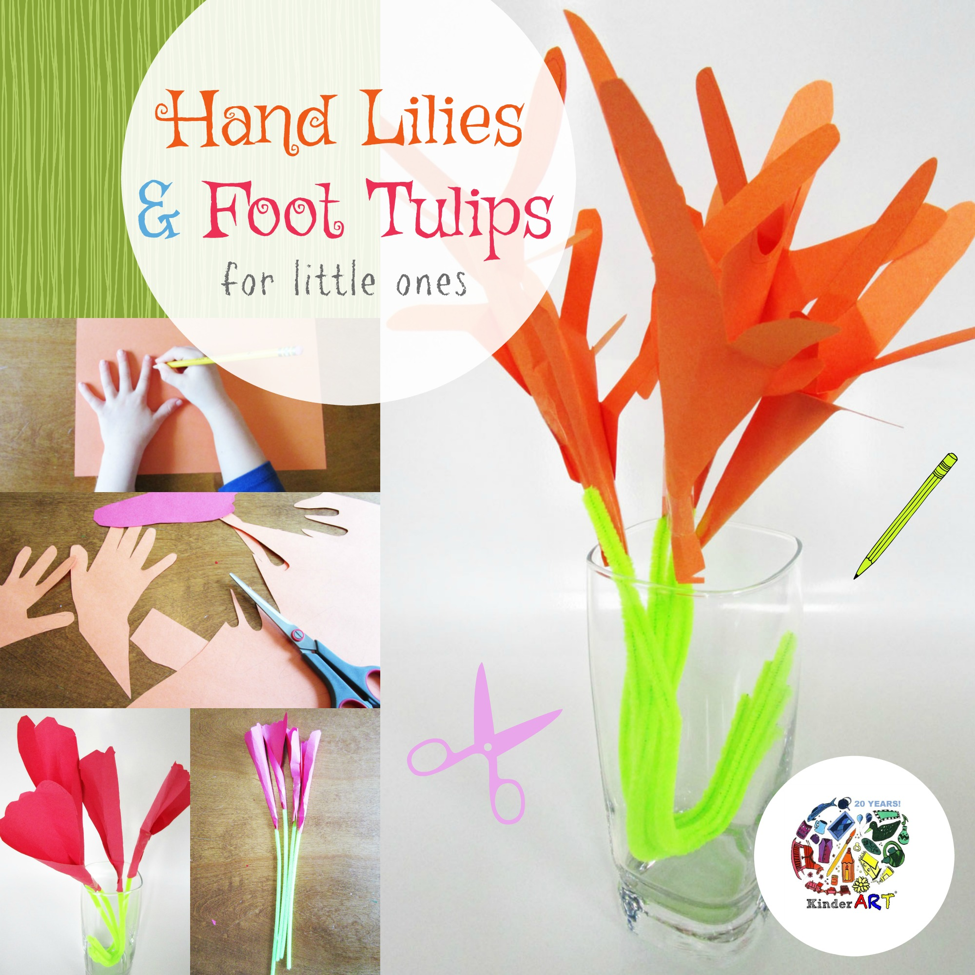 Hand Lilies And Foot Tulips Activity For Children From Kinderart