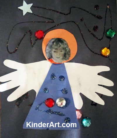 handprint angel craft for kids kinderart