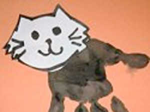 Handprint Cat for Halloween. KinderArt.com