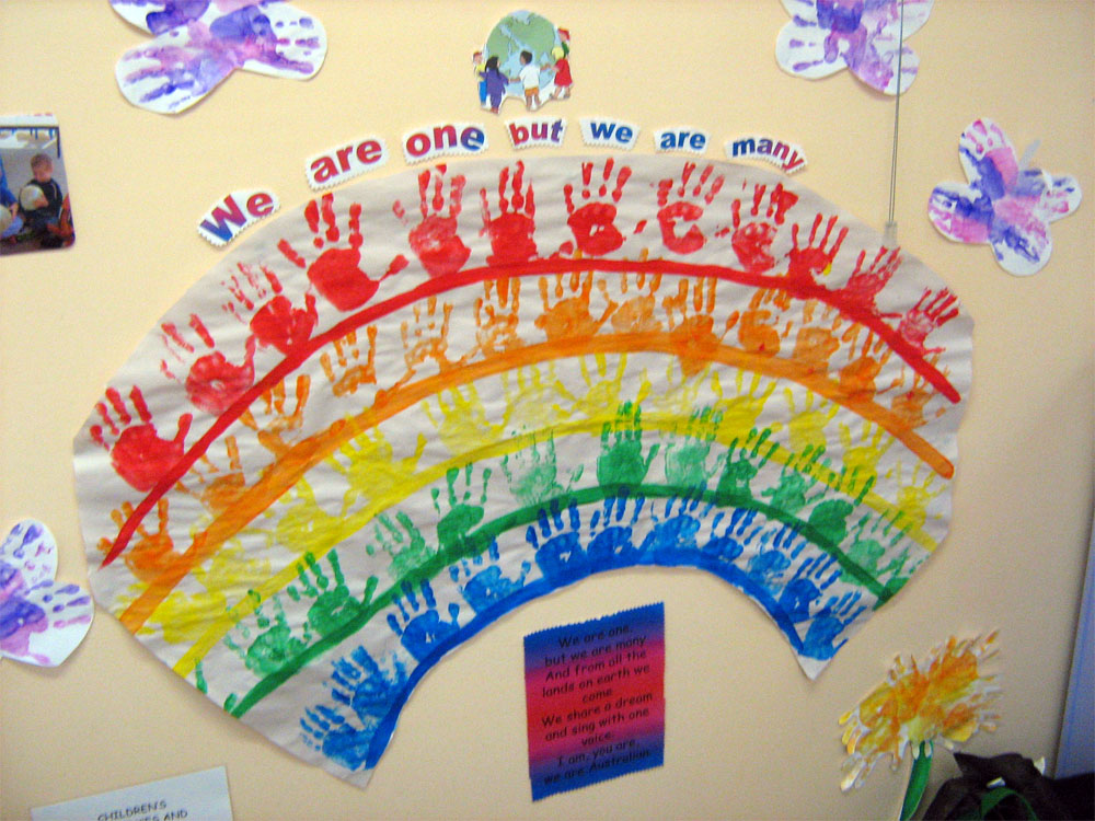 Handprint rainbow lesson plan multicultural art and craft for International arts and crafts
