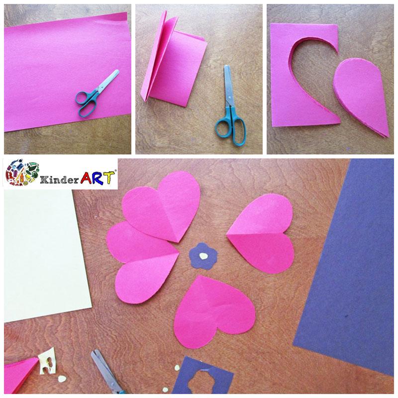 Heart Poppies crafts for kids. KinderArt.com
