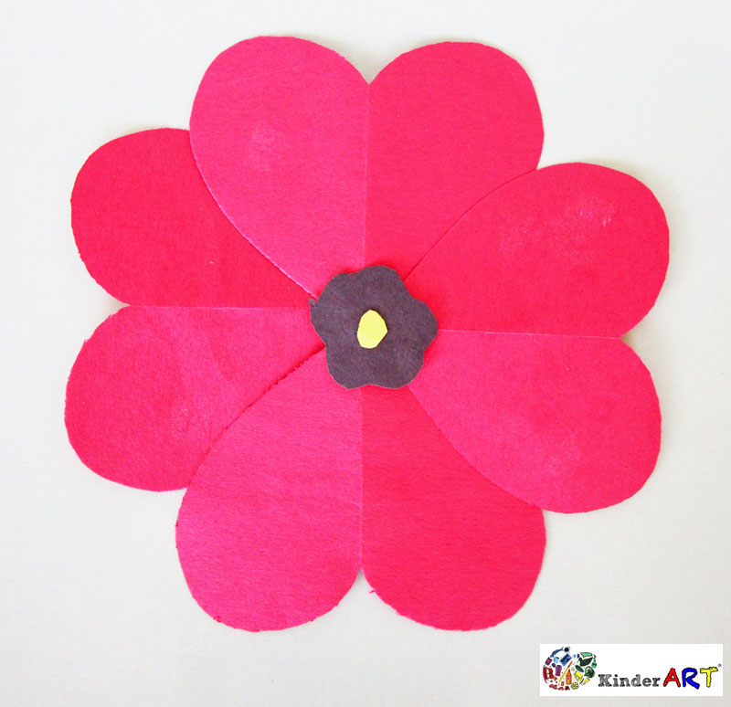 Heart Poppies crafts for kids. KinderArt.com