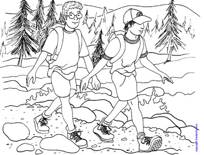 hiking coloring page kinderartcom