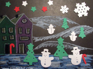 Quick winter picture using stickers. KinderArt.com