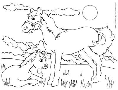 Horse coloring page. KinderArt.com