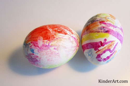 Melted crayon Easter eggs craft from KinderArt.com