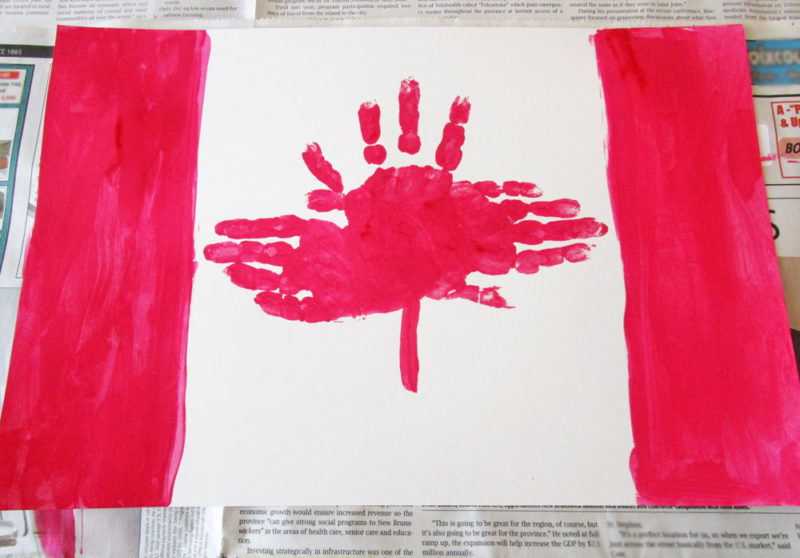 Handprint Canadian flag craft for kids.