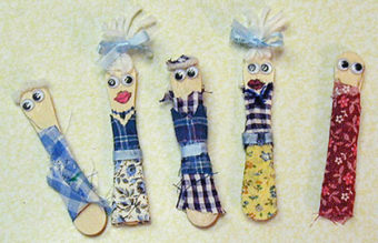 Wooden craft stick dolls.