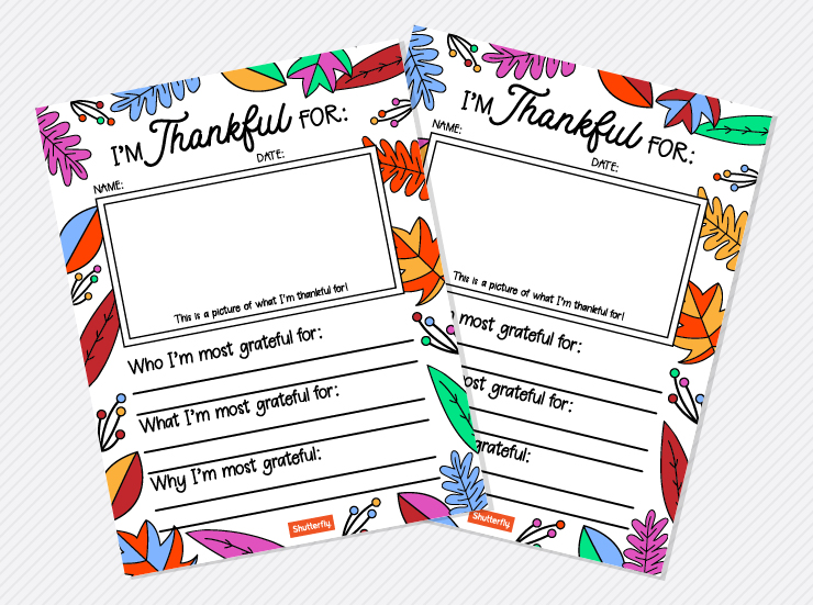 I'm Thankful For... Handout for Kids