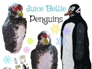 Juice bottle penguin art lesson plan. KinderArt.com.