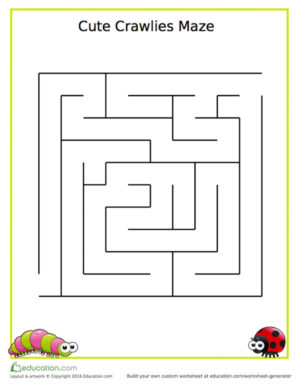 Cute Crawlies Maze Worksheet Kinderart