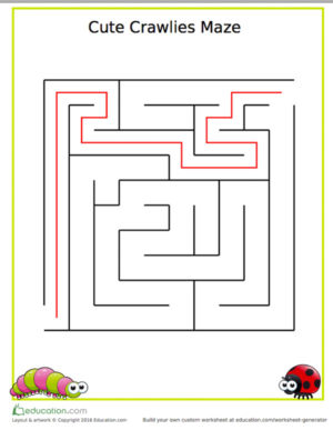 Cute crawly maze answers from Education.com