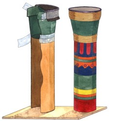 Make a drum from a carpet tube and flower pot.