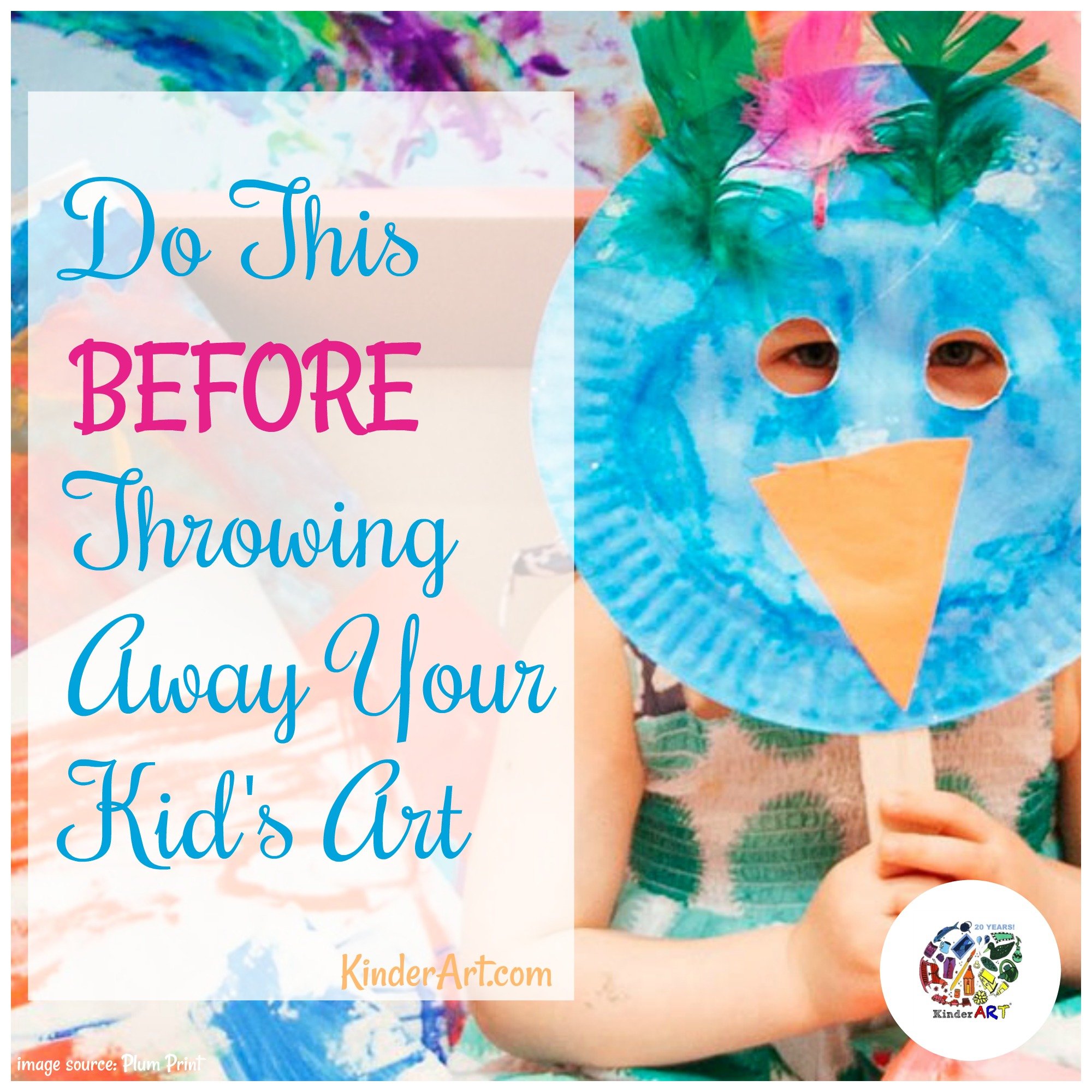 Do this before throwing away your kid's art. KinderArt.com