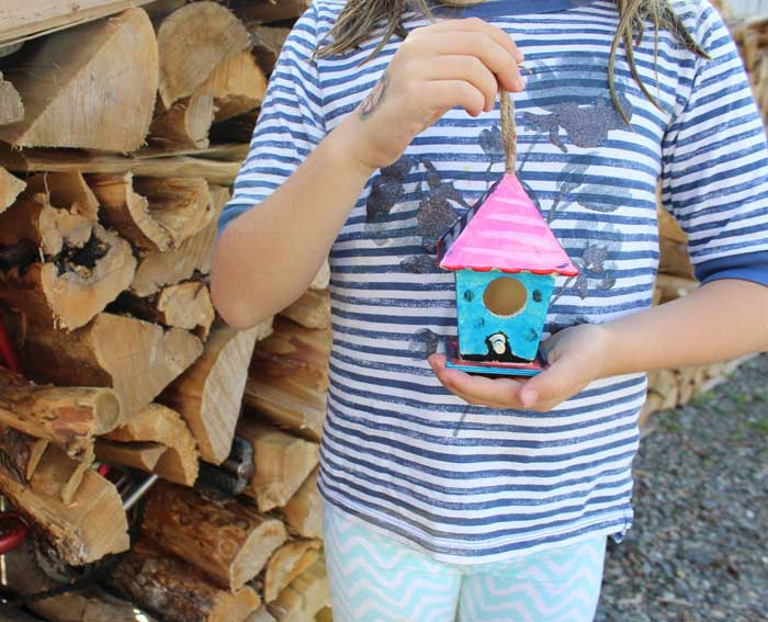 Birdhouse painted with Kwik Stix.