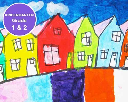 Kindergarten, Grade 1 and Grade 2 Art Lessons. KinderArt.com