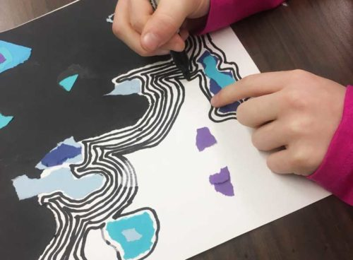 Draw the lines. Organic Shape and Line Collage art lesson plan. KinderArt.com.