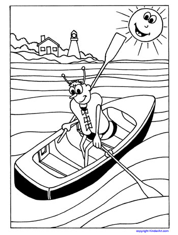 Wear a life jacket coloring page. KinderArt.com