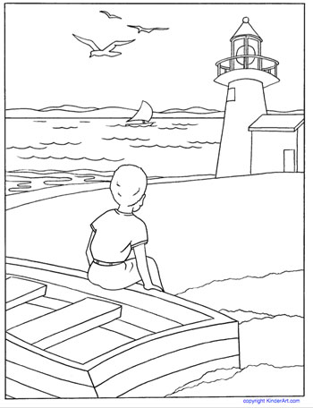 Boy And Lighthouse Coloring Page KinderArt