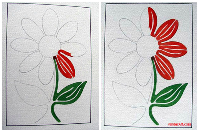 Line painting flower in the style of Geoff Slater