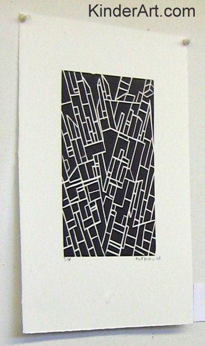 Lino block print.